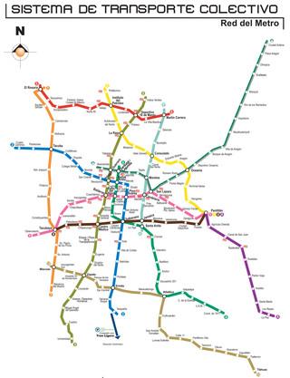 Plano de la red de metro de la Ciudad de México DF